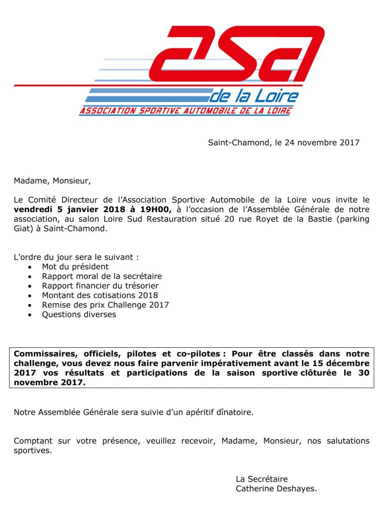 Assemblée Générale de l'ASA Loire le 5 janvier 2018